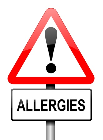 allergic: Illustration depicting a red and white triangular warning sign with an