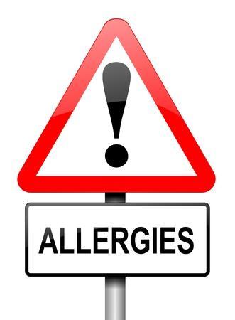 al�rgico: Ilustraci�n que muestra una se�al triangular de advertencia de color rojo y blanco con una