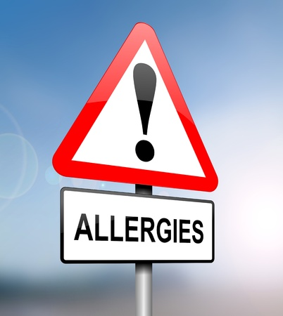 allergen: Illustration depicting a red and white triangular warning sign with an