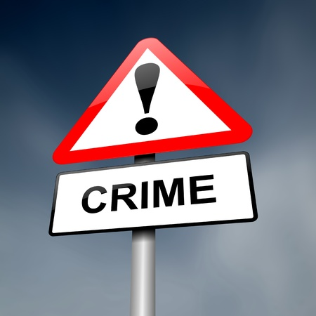 crimes: Illustration depicting a red and white triangular warning sign with a