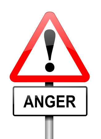 Illustration depicting a red and white triangular warning sign with an anger concept. White background. Stock Photo