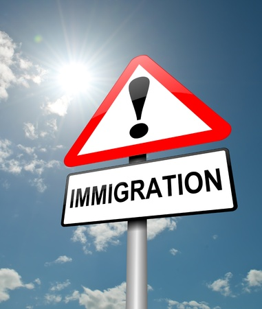unlawful: Illustration depicting a red and white triangular warning sign with a immigration concept. Blue sky background.