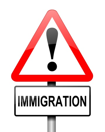overseas visa: Illustration depicting a red and white triangular warning sign with a immigration concept. White background. Stock Photo