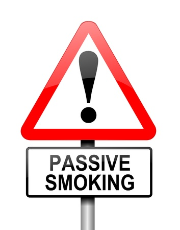 passive: Illustration depicting a red and white triangular warning sign with a passive smoking concept. White background.