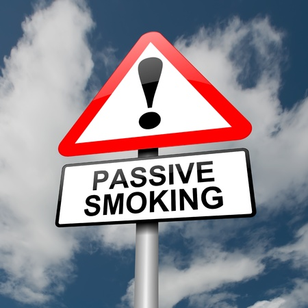 anti tobacco: Illustration depicting a red and white triangular warning sign with a passive smoking concept. Clouds and sky background. Stock Photo