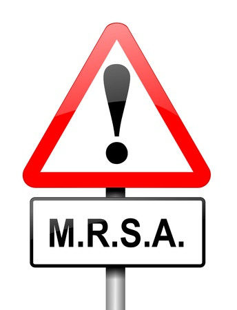mrsa: Illustration depicting a red and white triangular warning sign with a m.r.s.a. concept. White background.