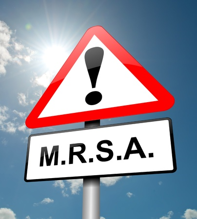 mrsa: Illustration depicting a red and white triangular warning sign with a m.r.s.a. concept. Sky background.