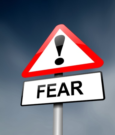 fearing: Illustration depicting a red and white triangular warning sign with a fear concept  Blurred dark sky background