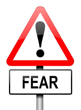 apprehension: Illustration depicting a red and white triangular warning sign with a fear concept  White background  Stock Photo