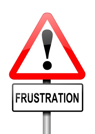 decepción: Ilustración que muestra una señal triangular de advertencia de color rojo y blanco, con un concepto de fondo frustración Blanca
