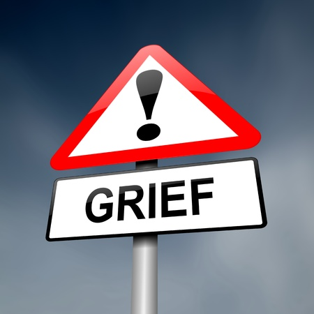 grieving: Illustration depicting a red and white triangular warning sign with a grief concept  Dark sky background
