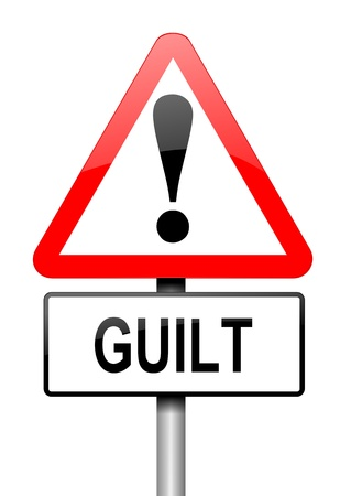 confess: Illustration depicting a red and white triangular warning sign with a guilt concept  White background