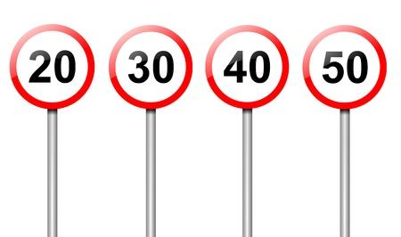 Illustration de quatre panneaux de vitesse limite de la route disposés sur blanc