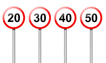 Illustration depicting four speed limit road signs arranged over white  illustration