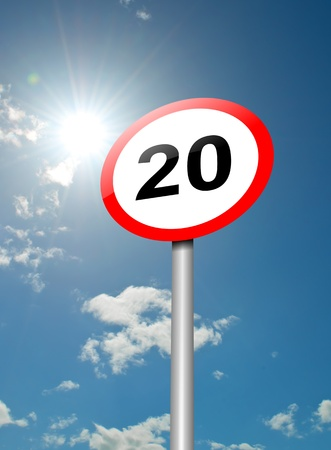 Illustration depicting a speed limit road sign against blue sky and sunlight background Stock Illustration - 13668513