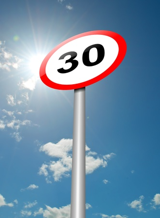 limitation: Illustration depicting a speed limit road sign against blue sky and sunlight background  Stock Photo