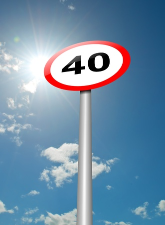sky is the limit: Illustration depicting a speed limit road sign against blue sky and sunlight background  Stock Photo