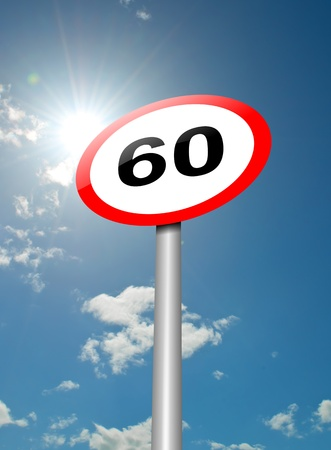 enforce: Illustration depicting a speed limit road sign against blue sky and sunlight background  Stock Photo