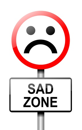 misery: Illustration depicting a road traffic sign with a sadness concept  White background  Stock Photo