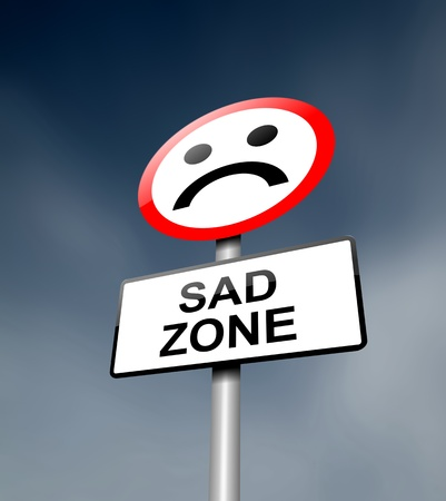 Illustration depicting a road traffic sign with a sadness concept  Dark sky background  Stock Illustration - 13692519