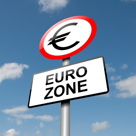 Illustration depicting a road traffic sign with a euro zone concept  Blue sky background  Stock Illustration - 13692524
