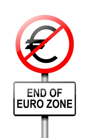 greek currency: Illustration depicting a road traffic sign with a euro zone end concept  White background