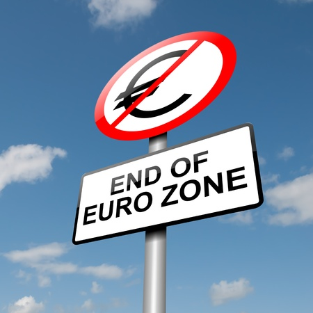 end of world: Illustration depicting a road traffic sign with a euro zone end concept  Blue sky background