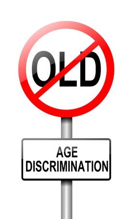 discriminacion: Ilustraci�n que muestra una se�al de tr�fico con un concepto de discriminaci�n por la edad de fondo blanco