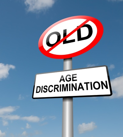 age old: Illustration depicting a road traffic sign with an age discrimination concept  Blue sky background  Stock Photo