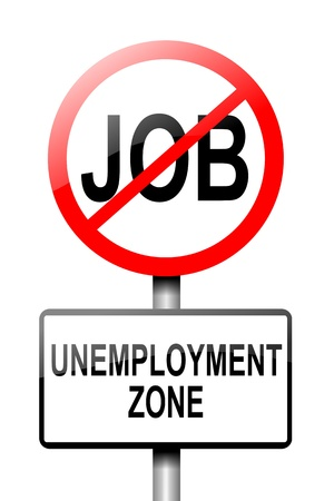 Illustration depicting a road traffic sign with an unemployment concept  White background  illustration