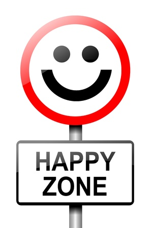 glädje: Illustration som visar en väg vägmärke med en lycka koncept Vit bakgrund