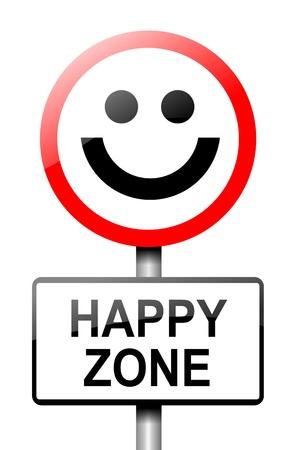 cara sonriente: Ilustraci�n que muestra una se�al de tr�fico con un concepto de fondo de la felicidad Blanca Foto de archivo