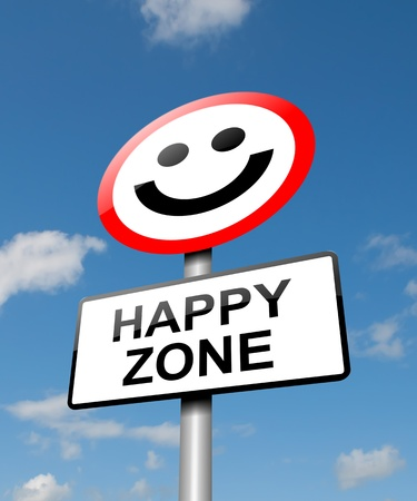 Illustration depicting a road traffic sign with a happiness concept  Blue sky background  Stock Illustration - 13692520