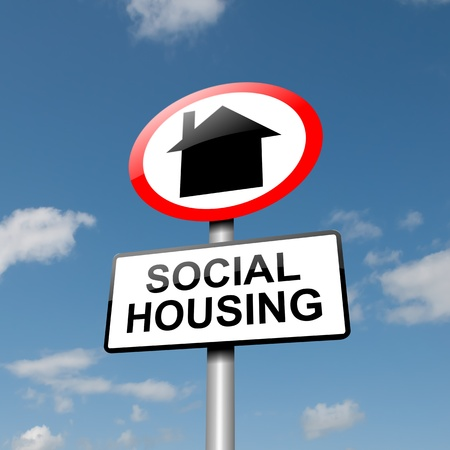 housing development: Illustration depicting a road traffic sign with a social housing concept  Blue sky background