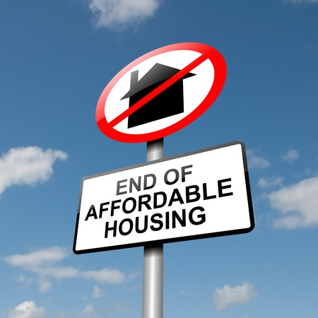 affordable: Illustration depicting a road traffic sign with an affordable housing concept  Blue sky background