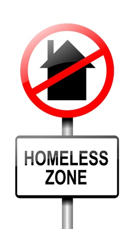 lonesome: Illustration depicting a road traffic sign with a homeless concept  White background  Stock Photo