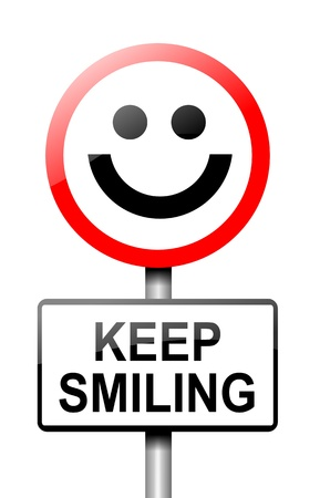 Illustration depicting a road traffic sign with a keep smiling concept  White background Stock Illustration - 13721724