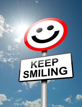 optimismo: Ilustración que muestra una señal de tráfico con un concepto de mantener la sonrisa del cielo azul y la luz del sol de fondo