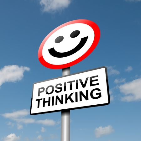 thinking: Illustration depicting a road traffic sign with a positive thinking concept  Blue sky background  Stock Photo