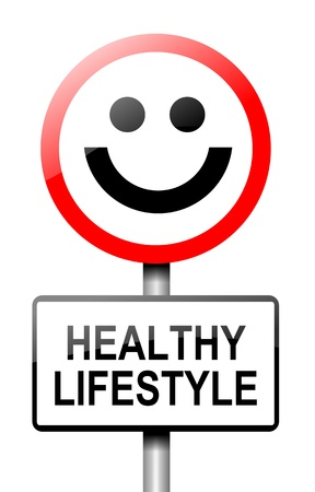 Illustration depicting a road traffic sign with a healthy lifestyle concept  White background