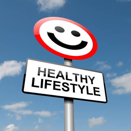 healthy living: Illustration depicting a road traffic sign with a healthy lifestyle concept  Blue sky background