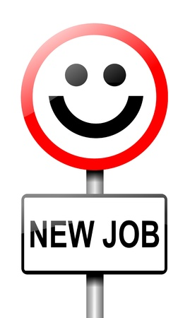 job searching: Illustration depicting a road traffic sign with a new job concept  White background