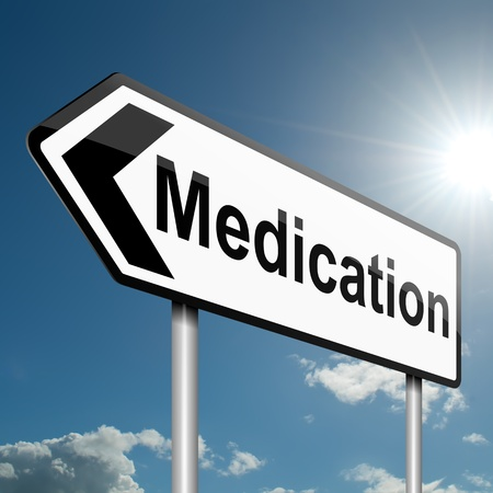Illustration depicting a road traffic sign with a medication concept  Blue sky background  Stock Illustration - 13721733