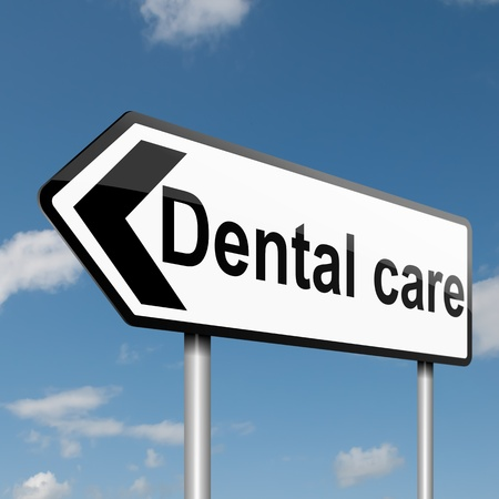 Illustration depicting a road traffic sign with a Dental treatment concept  Blue sky background  illustration