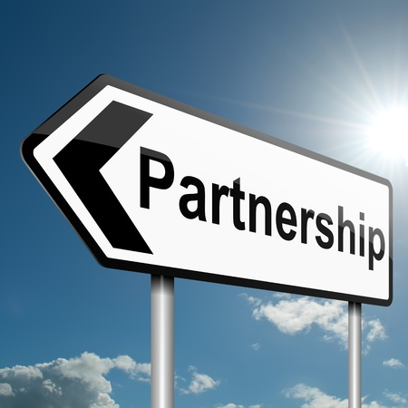 strong partnership: Illustration depicting a road traffic sign with a partnership concept. Blue sky background.