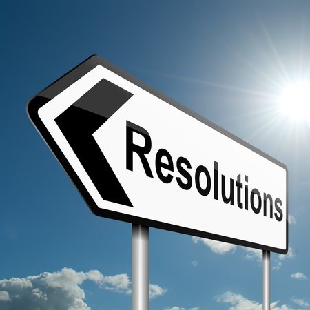 Illustration depicting a road traffic sign with a resolutions concept. Blue sky background. illustration