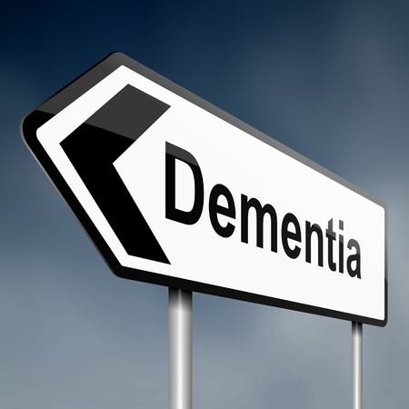 alzheimer's: Illustration depicting a road traffic sign with a dementia concept. Blue sky background. Stock Photo