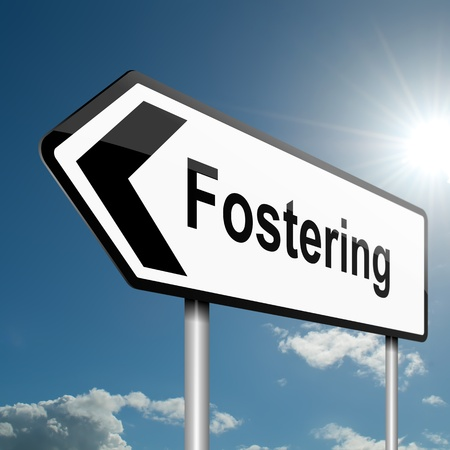 fostering: Illustration depicting a road traffic sign with a fostering concept. Blue sky background.