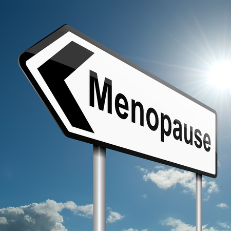 menopause: Illustration depicting a road traffic sign with a menopause concept. Blue sky background.