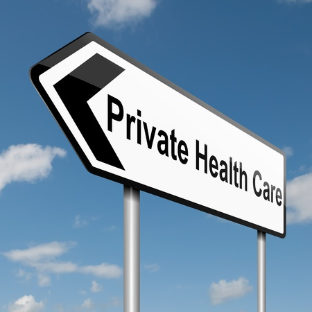 private hospital: Illustration depicting a road traffic sign with a Private Healthcare concept. Blue sky background. Stock Photo